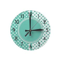 Turquoise and White Polka Dots Clock by hhtrendyhome