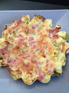 Potato leek quiche without dough For 1 pers (very generous!) 9 pp (weight watchers) – 1 leek g of potato egg – 1 slice of ham g of gruyère cheese cl of crème fraîche tbsp cottage cheese Healthy Cooking, Healthy Recipes, Salty Foods, Curry, Wrap Recipes, Picky Eaters, Diet And Nutrition, Healthy Smoothies, Coco