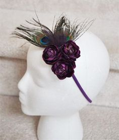 Exquisite Triple Purple flower and peacock feather by PoshGarden, $11.99