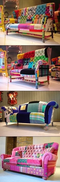 I wish I had the patience/attention span/mad skills to make one of these!  COLORED DIY SOFAS