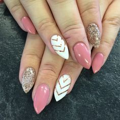 Gel Nails | Pink & White | Glitter | Stilettos