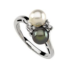14K White Gold Black and White Akoya Cultured Pearl and Diamond Ring - 6.50mm $683.70