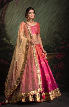 Shaded Lehenga with Banarsi with foiled blouse clubbed with Mukaish gold dupatta. Fabric: Heavy Cotton Shaded Lehenga with Banarsi with foiled blouse clubbed with Mukaish gold dupatta. Banarasi Lehenga, Indian Lehenga, Indian Gowns, Indian Attire, Indian Ethnic Wear, Pink Lehenga, Ghagra Choli, Cotton Lehenga, Lehenga Choli Wedding