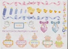 Pin by maura montesano on punto croce cross stitch baby stitch Baby Cross Stitch Patterns, Cross Stitch Love, Cross Stitch Charts, Baby Bouquet, Knitting Designs, Baby Sewing, Cross Stitching, Blackwork, Needlepoint