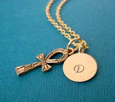 Gold Ankh Charm Necklace with personalized by lucindascharms, $16.50