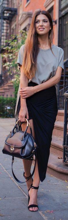 Black Pointed Hem Asymmetrical Mini/maxi Skirt Blouse grise – jupe crayon noire - sac marron et noir