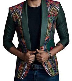 6e77f8b5a3ec RDHOPE Men s Flower Print Long Sleeve African One Button Blazer Jackets