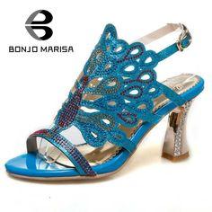 BONJOMARISA Rhinestone Women Sandals Hollow Out High Heel Open Toe Platform Shoes For Summer Woman Big Size 32-46
