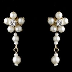 Gold Ivory Floral Pearl Dangle Earrings 8001