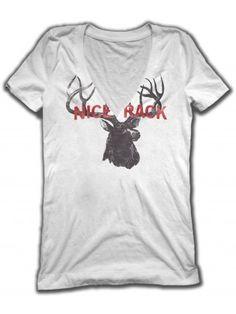 """Women's """"Nice Rack"""" V-Neck Tee by Badcock Jones (White) $31.95"""