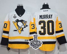 Penguins #30 Matt Murray White New Away 2017 Stanley Cup Final Patch Stitched NHL Jersey