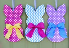 Bunny Wreath - Easter Door Hanger - Chevron Wreath - Customized For You by EverBloomingOriginal on Etsy https://www.etsy.com/listing/262080330/bunny-wreath-easter-door-hanger-chevron
