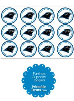 Printable Panthers Logo Cupcake Toppers from PrintableTreats.com