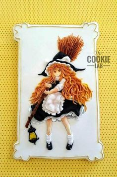 A Witch with a Japanese twist. - cookie by The Cookie Lab - Bolachas Decoradas Artesanais (royal icing cookies girl) Fall Cookies, Iced Cookies, Holiday Cookies, Cupcake Cookies, Halloween Food For Party, Halloween Cookies, Halloween Treats, Gingerbread House Icing, Chocolates