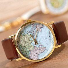 Fashion Casual watches Women Retro Vintage Quartz Watch World Map Wristwatches ladies Navigation Leather Women Dress Watches