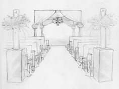 The ceremony site will feature a custom-built chuppah draped in sheer, white fabric with bands of lavender hydrangeas at the tie backs.  At the end of the aisle two lucite risers will be topped with tale centerpieces and surrounded by mounds of flowers and candles.
