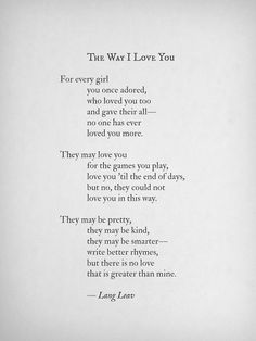 The Way I Love You by Lang Leav