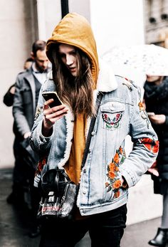 See how street style stars are styling the shearling denim jacket, and then shop our picks!