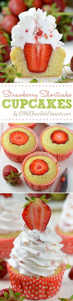 Strawberry Shortcake Cupcakes are a quick and easy, but by no means the less tasty version of the well known Strawberry Shortcake. #strawberry #shortcake #cupcakes