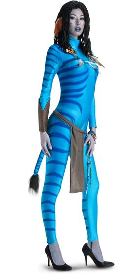 Avatar Movie Sexy Neytiri Adult Costume Includes: Jumpsuit, apron, one arm gauntlet and 2 sets of beaded jewelry. Does not include wig or shoes. This is an officially licensed Avatar product. Avatar Halloween Costume, Avatar Costumes, Adult Costumes, Adult Halloween, Smurf Costume, Party Costumes, Halloween Carnival, Homemade Halloween, Women Halloween