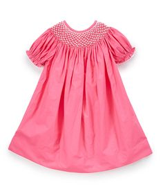Look at this Barefoot Children's Clothing Hot Pink Pearl Yoke Short-Sleeve Bishop Dress - Infant, Toddler & Girls on #zulily today!