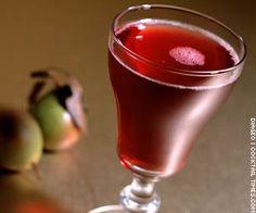 Pear Carnival  - 1 1/2 Oronoco Brazilian rum  - 1/4 oz pear liqueur  - 1/2 oz pomegranate juice  - 1 tbsp Champagne