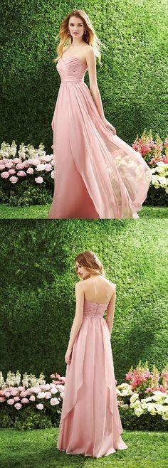 Pink Strapless Sweetheart Pleated Chiffon Long Bridesmaid Dress