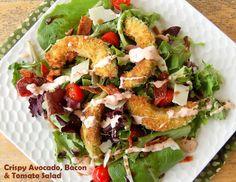 Souffle Bombay: Crispy Avocado Bacon & Tomato Salad Tasty Kitchen, Avocado Fries, Avocado Salad, Fried Avocado, Blt Salad, Bacon Salad, Salad Recipes, Healthy Recipes, Avocado Recipes