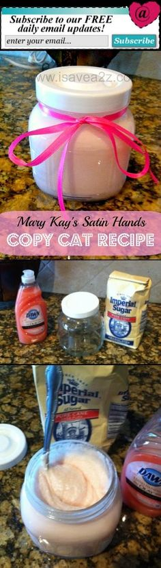 Mary Kay's satin hands copy cat recipe for Mother's Day gift from students.
