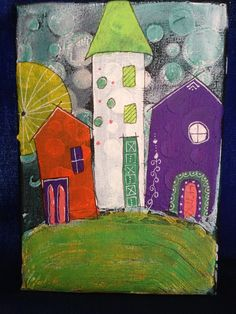 Houses on the hill. Small canvas. Acrylic with stencil texture and doodling.