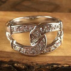 Exotic Rhodium Zircon Intertwined Encrusted Ring LA R2506. Starting at $1