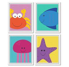 Seaside Animal Prints. Set of four 8x10 Printable Nursery Art PDF. Kids room decor. Nautical ocean theme.