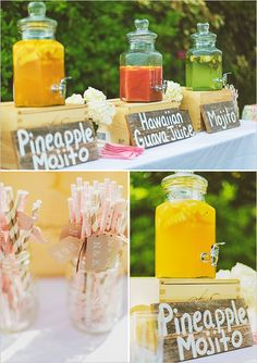 Wedding shower idea for tropical wedding . www.yourbox-shop.com dispensador de bebida, dispensador de limonada, dispensadores de bebidas. boda. catering. fiesta. bautizo. cumpleaños. babyshower