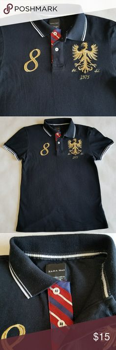 f7496add7 ZARA MAN Polo Shirt Zara man Polo shirt with Gold embroidered design on  Chest