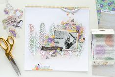 Scrapbook layout featuring the Bliss Collection by Simple Stories Designed by Nathalie DeSousa Scrapbook Layouts, Scrapbook Pages, Scrapbooking, Silhouette Cameo 2, Ranger Ink, Distress Oxide Ink, Clear Stickers, Simple Stories, Ink Pads
