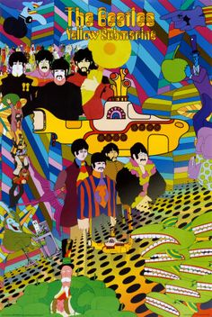 THE BEATLES - YELLOW SUBMARINE COLLAGE POSTER - 24x36 SHRINK WRAPPED-MUSIC 24541