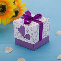 100 Laser Cut Heart Wedding Bomboniere Candy Boxes Chocolate Packaging Purple