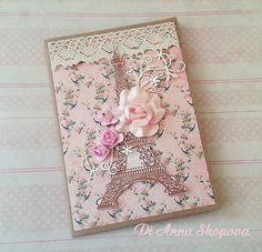Eiffel Tower Handmade Cards, shabby chic cards, paris handmade card, paper roses