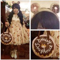 Emily Temple cute doughnut bag, Toki Doki Donutella headband, Angelic Pretty Melty Cream donut op