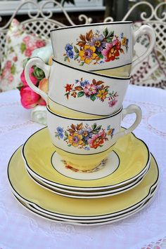 Shabby Chic 1930s Floral Teacups by cake-stand-heaven, via Flickr