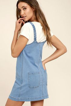 844f3c481f You ll be skipping in style with the Hopscotch Champion Blue Denim Pinafore  Dress!