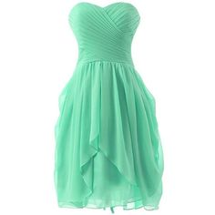 Endofjune A short And Simple Sleeveless Chiffon Prom Dresses (115 CAD) ❤ liked on Polyvore featuring dresses, chiffon cocktail dress, sleeveless dress, green sleeveless dress, short dresses and prom dresses