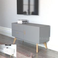 New Scandinavian Credenza Retro TV Stand Sideboard Furniture White Grey Upto 55""