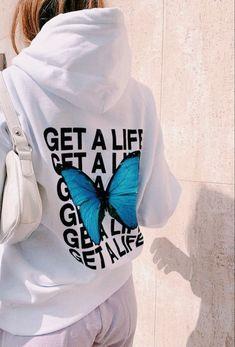 Get A Life, Trendy Hoodies, Jeans Boyfriend, Hooded Sweatshirts, Shirt Designs, Street Wear, Cute Outfits, Graphic Sweatshirt, Fashion Outfits
