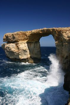 The Azure Window is a natural arch in the Maltese island of Gozo