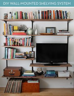 cool easy to DIY shelves - what a difference natural wood makes vs the old laminate we used to use!
