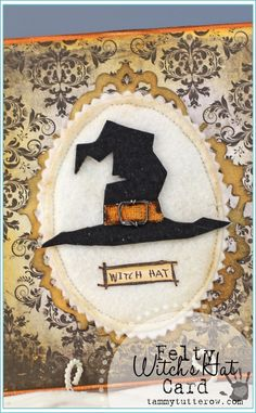 Tammy Tutterow | Felty Witch's Hat Card featuring NEW Tim Holtz 2014 Holiday Stamps
