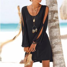 Summer Dress Women Casual ONeck Hollow Out Sleeve Straight Dress Solid Beach Mini Dresses Vestidos Size S Color Black Robes Midi, Moda Chic, Mini Vestidos, Straight Dress, Long Sleeve Mini Dress, Beach Dresses, Vacation Dresses, Mini Dresses, Women's Fashion Dresses