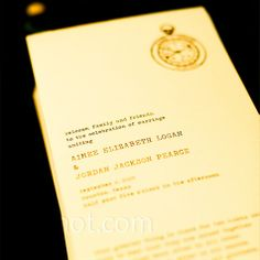 """The programs were designed to look just like the wedding invitations. They incorporated the same compass logo and """"typewriter"""" font."""