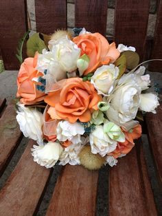 Coral Ivory and Teal Blue Real Touch Silk Bridal Bouquet w/ Matching Grooms Boutonniere / Silk Wedding Flowers
